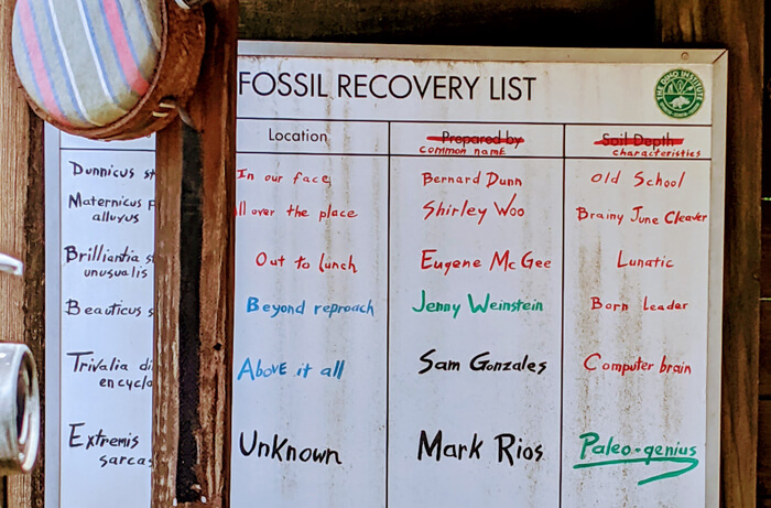 fossil recovery list