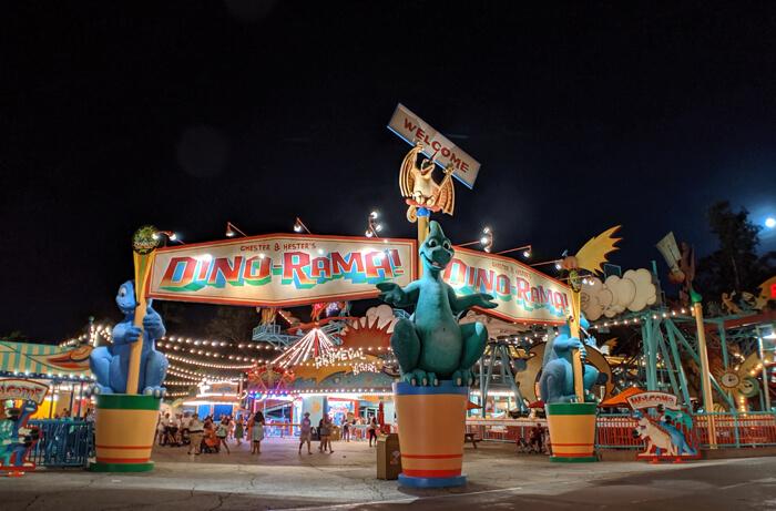 Dino-Rama at night